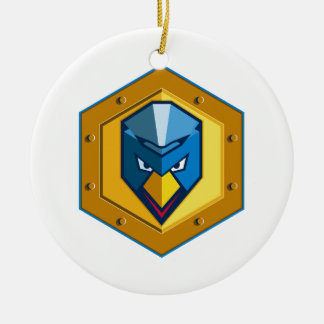 Cyber Punk Chicken Hexagon Icon Ceramic Ornament