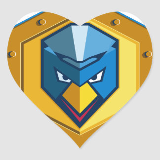 Cyber Punk Chicken Hexagon Icon Heart Sticker