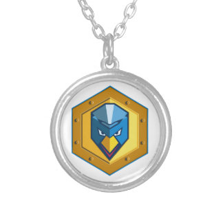 Cyber Punk Chicken Hexagon Icon Silver Plated Necklace