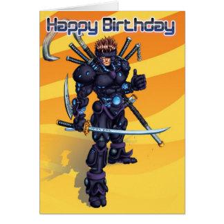 Cyber Samurai Birthday Card