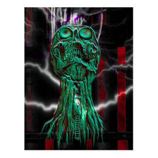 Cyber Scream Gothic Skull Mini Print Art Card Postcard