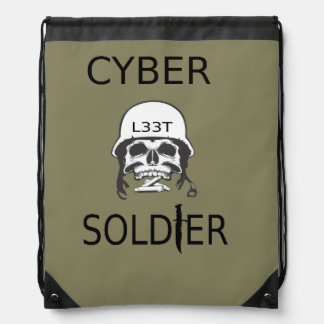 Cyber Soldier Hacker Drawstring Bag