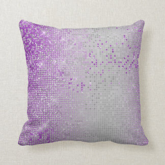 Cyber Sparkly Glitter Grill Lavande Purple Amethys Throw Pillow