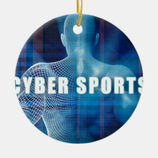 Cyber sports as a Futuristic Concept Abstract Round Ceramic Ornament