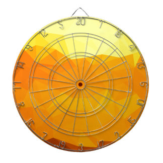 Cyber Yellow Abstract Low Polygon Background Dartboard With Darts