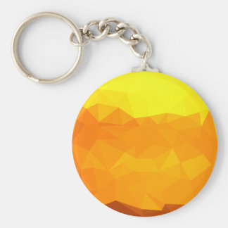 Cyber Yellow Abstract Low Polygon Background Keychain