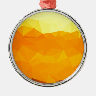 Cyber Yellow Abstract Low Polygon Background Metal Ornament