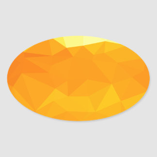 Cyber Yellow Abstract Low Polygon Background Oval Sticker