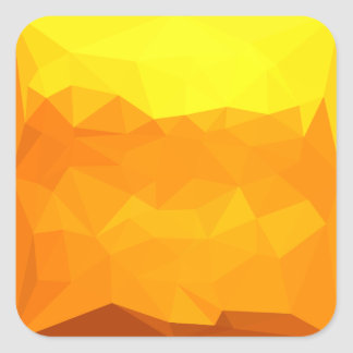 Cyber Yellow Abstract Low Polygon Background Square Sticker