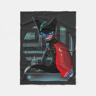 Cyberpunk Ninja Cat Fleece Blanket