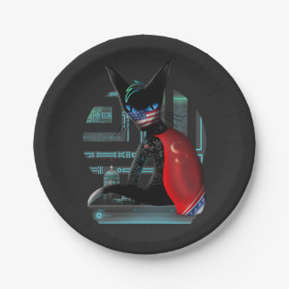 Cyberpunk Ninja Cat Paper Plate