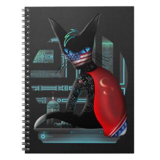 Cyberpunk Ninja Cat Spiral Note Books