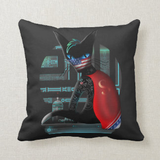Cyberpunk Ninja Cat Throw Pillow