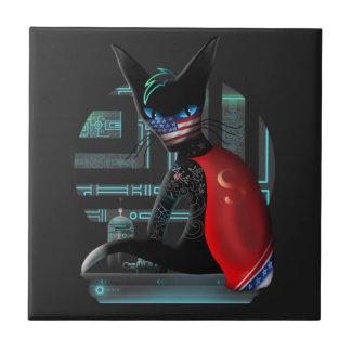 Cyberpunk Ninja Cat Tile