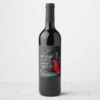 Cyberpunk Ninja Cat Wine Label