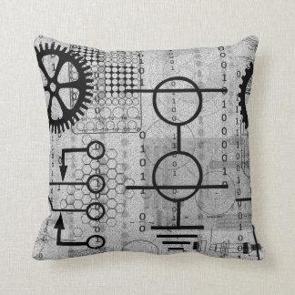 Cyberpunk Tech Gear Electronic Themed Throw Pillow
