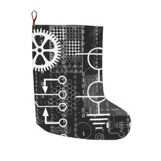 Cyberpunk Tech Geek Gear Electronic Engineer Math Large Christmas Stocking