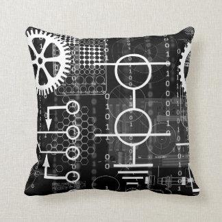 Cyberpunk Tech Geek Gear Electronic Engineer Math Throw Pillow