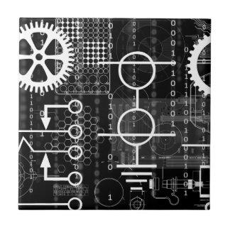 Cyberpunk Tech Geek Gear Electronic Engineer Math Tile