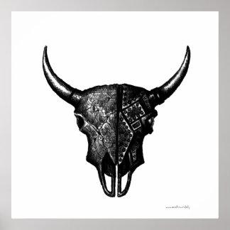 Cyborg bull skull ink pen drawing art poster