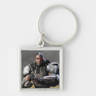 Cyborg Silver-Colored Square Keychain