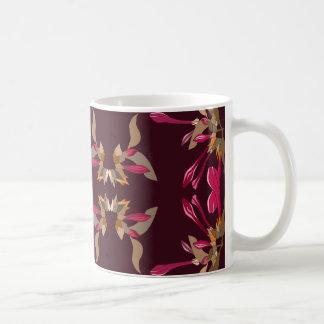 Cyclamen and Burgundy Artsy Floral Pattern Coffee Mug