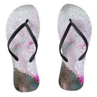 Cyclamen Flower Mosaic Flip Flops