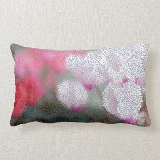Cyclamen Flower Mosaic Lumbar Pillow
