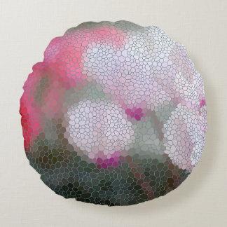 Cyclamen Flower Mosaic Round Pillow