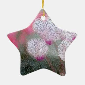 Cyclamen Flowers Mosaic Ceramic Star Ornament
