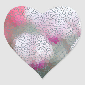 Cyclamen Flowers Mosaic Heart Sticker
