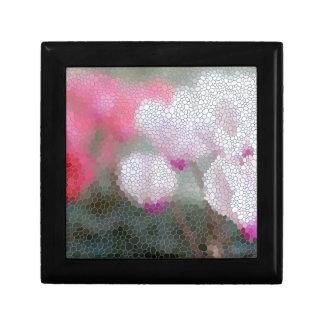 Cyclamen Flowers Mosaic Keepsake Box