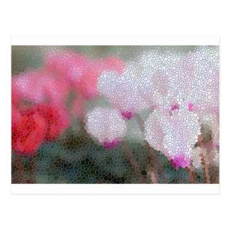 Cyclamen Flowers Mosaic Postcard