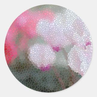 Cyclamen Flowers Mosaic Round Sticker