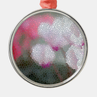 Cyclamen Flowers Mosaic Silver-Colored Round Ornament