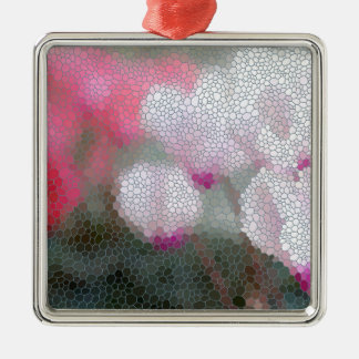 Cyclamen Flowers Mosaic Silver-Colored Square Ornament
