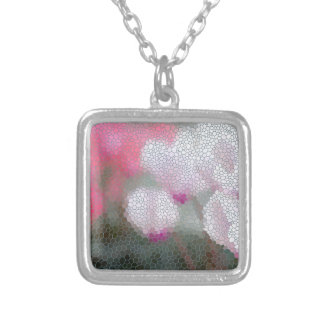 Cyclamen Flowers Mosaic Silver Plated Necklace