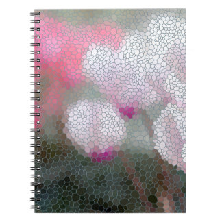 Cyclamen Flowers Mosaic Spiral Note Book