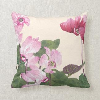 Cyclamen Flowers Throw Pillow