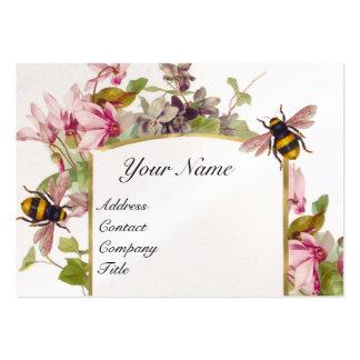 Cyclamens,Honey Bees,Beekeeper,Beekeeping Monogram Large Business Card