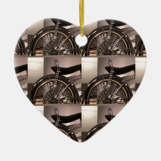 Cycle Bicycle art graphic deco template add text Ceramic Heart Ornament