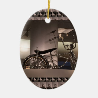 Cycle Bicycle art graphic deco template add text Ceramic Oval Ornament
