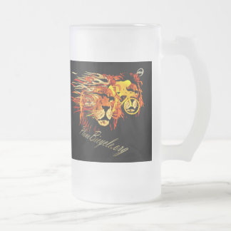 Cycle like a lion on Fire Plano Texas Cycling Frosted Glass Beer Mug