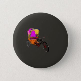 Cycle Rickshaw Gray 2 Inch Round Button