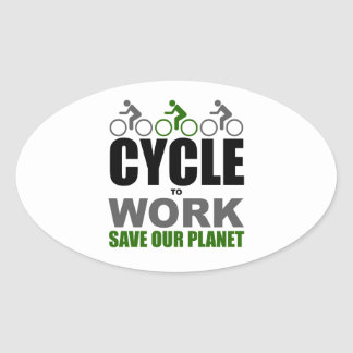 Cycle To Work Oval Sticker