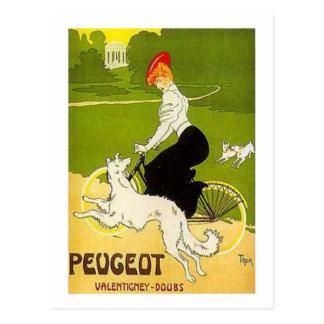 Cycle vintage d équitation de femme de Peugeot ave Carte Postale