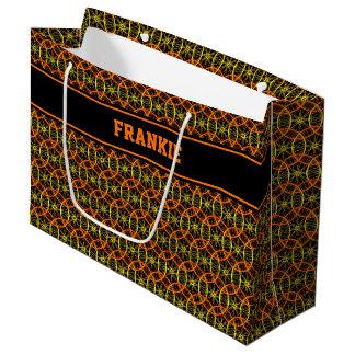 Cycle wheel pattern custom name large gift bag