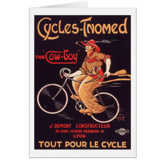 "Cycles Tnomed ""The Cowboy"" Vintage French Bike Ad Card"