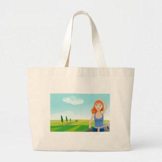 cycling-148988 large tote bag