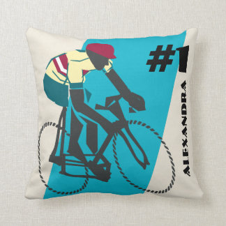 Cycling (Blue) Throw Pillow